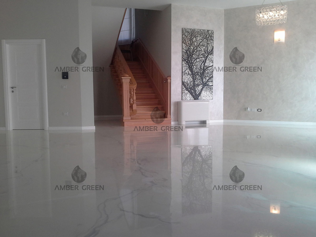 Esempio casa con pavimento in resina decorativa for Pavimenti per salone